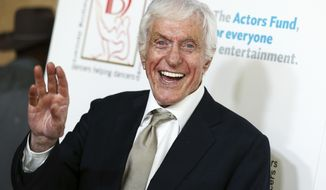 """FILE - In this April 24, 2016, file photo Dick Van Dyke attends the 29th Annual Gypsy Awards Luncheon held at the Beverly Hilton Hotel in Beverly Hills, Calif. Van Dyke confirmed to several outlets on Dec. 19, 2016, that he will appear in an upcoming sequel to """"Mary Poppins."""" (Photo by John Salangsang/Invision/AP, File)"""