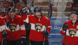 Florida Panthers right wing Jaromir Jagr (68) acknowledges the fans after he scored his third point of the game against the Buffalo Sabres during the third period of an NHL hockey game, Tuesday, Dec. 20, 2016, in Sunrise, Fla. Jagr tied Mark Messier for 2nd place overall in NHL scoring with 1,887 points. The Panthers defeated the Sabres 4-3 in a shoot out. (AP Photo/Joel Auerbach)