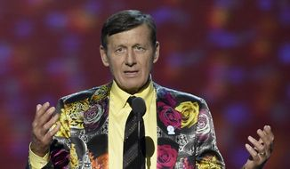 FILE - In this July 13, 2016, file photo, Craig Sager gestures while speaking at the ESPY Awards in Los Angeles. Longtime TNT broadcaster Craig Sager was remembered for his love of family, sports and colorful attire on Tuesday , Dec. 20, 2016, at a memorial service in Atlanta that produced laughs and tears. (Photo by Chris Pizzello/Invision/AP) **FILE**