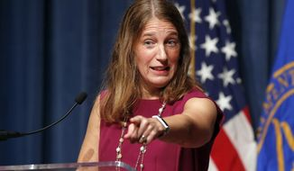 In this Oct. 19, 2016, photo, Health and Human Service (HHS) Secretary Sylvia Burwell speaks during a news conference at the HHS in Washington. The Obama administration says 6.4 million people have signed up so far this year for subsidized private insurance coverage through HealthCare.gov. Despite rising premiums, dwindling insurers, and a Republican vow to repeal Obamacare, enrollment is running ahead of last years pace.  (AP Photo/Alex Brandon)