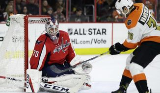 Washington Capitals' Braden Holtby, left, blocks a shot by Philadelphia Flyers' Chris VandeVelde during the second period of an NHL hockey game, Wednesday, Dec. 21, 2016, in Philadelphia. (AP Photo/Matt Slocum)