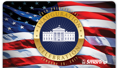 The official 2017 Inauguration Celebration SmarTrip fare card is issued by the Washington Metropolitan Area Transit Authority. Unlike designs from 2009 and 2013, the president-elect is not featured. (Washington Metropolitan Area Transit Authority)