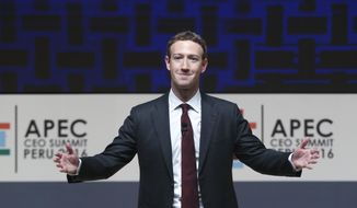 "In this Nov. 19, 2016, file photo, Mark Zuckerberg, chairman and CEO of Facebook, speaks at the CEO summit during the annual Asia Pacific Economic Cooperation (APEC) forum in Lima, Peru. Zuckerberg unveiled his new artificial intelligence assistant named ""Jarvis"" in a Facebook post on Dec. 19, 2016. (AP Photo/Esteban Felix, File)"