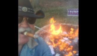 Butler County Sheriff Richard Jones, an Ohio elector, is causing a stir on social media after he rounded up all of the anti-Donald Trump letters he'd received since the election and then filmed himself setting them on fire following Monday's Electoral College vote. (Twitter/@butlersheriff)