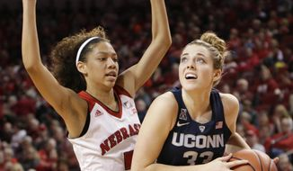 Connecticut's Katie Lou Samuelson (33), drives to the basket around Nebraska's Nicea Eliely (5) during the first half of an NCAA college basketball game in Lincoln, Neb., Wednesday, Dec. 21, 2016. (AP Photo/Nati Harnik)