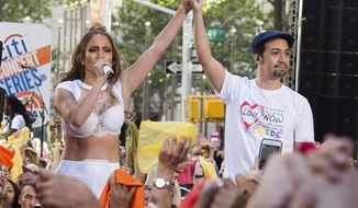 "FILE - In this July 11, 2016 file photo  Jennifer Lopez, left, and Lin-Manuel Miranda perform on NBC's ""Today"" show in New York. Miranda, who was everywhere in popular culture this year, was named The Associated Press Entertainer of the Year, voted by members of the news cooperative.  (Photo by Charles Sykes/Invision/AP, File)"
