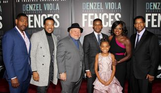 "Paramount Pictures Presents the New York Special Screening of ""FENCES."" Pictured, from left: Mykelti Williamson, Russell Hornsby, Stephen McKinley Henderson, Jovan Adepo, Saniyya Sidney, Viola Davis, Denzel Washington.  (Marion Curtis/StarPix)."