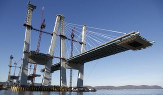 Construction continues on the new Tappan Zee Bridge near Tarrytown, N.Y., Tuesday, Dec. 20, 2016. The $4 billion bridge replacement is one of the biggest infrastructure efforts currently underway in the U.S. (AP Photo/Seth Wenig)