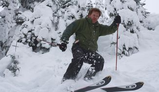 """ADVANCE FOR WEEKEND EDITIONS, DEC. 24-25 - In this Nov. 29, 2016 photo, Danny Miller gets """"turns"""" in for November at the Mount Baker Ski Area near Deming, Wash. Miller makes a hobby of skiing a slope somewhere in the Pacific Northwest every month of the year. (Evan Bush/The Seattle Times via AP)"""