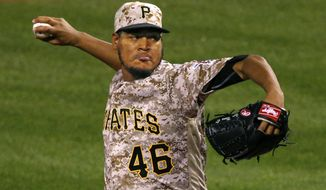 FILE - In this Sept. 29, 2016 file photo, Pittsburgh Pirates starting pitcher Ivan Nova delivers in the first inning of a baseball game against the Chicago Cubs in Pittsburgh. A person with knowledge of the deal says Nova and the Pittsburgh Pirates have agreed to a $26 million, three-year contract. The person spoke to The Associated Press on condition of anonymity Thursday, Dec. 22  because the agreement had not been announced.(AP Photo/Gene J. Puskar, File)