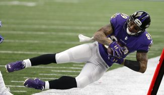 FILE - In this Nov. 20, 2016 file photo, Baltimore Ravens wide receiver Steve Smith makes a catch along the sideline for his 1000th career catch in the first half of an NFL football game against the Dallas Cowboys in Arlington, Texas. The Pittsburgh Steelers will host the Ravens on Sunday, Dec. 25.  (AP Photo/Michael Ainsworth, File)
