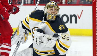 Boston Bruins goalie Anton Khudobin (35) looks for a whistle after blocking a shot from the Carolina Hurricanes during the second period of an NHL hockey game, Friday, Dec. 23, 2016, in Raleigh, N.C. (AP Photo/Karl B DeBlaker)