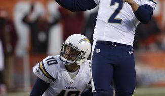 San Diego Chargers kicker Josh Lambo (2) watches his missed 45-yard field goal-attempt in the fourth quarter of an NFL football game against the Cleveland Browns, Saturday, Dec. 24, 2016, in Cleveland. Kellen Clemens (10) watches. (AP Photo/Ron Schwane)
