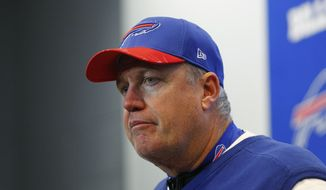 Buffalo Bills head coach Rex Ryan listens to a question during a news conference after an NFL football game against the Miami Dolphins Saturday, Dec. 24, 2016, in Orchard Park, N.Y. The Dolphins won 34-31.(AP Photo/Bill Wippert)