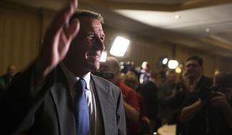 In this Nov. 8, 2016 file photo, Vermont Republican gubernatorial candidate Phil Scott waves to a room full of supporters as he awaits the election results at the Sheraton Burlington Hotel, in South Burlington, Vt. Scott's victory over Democrat Sue Minter in the governor's race was among the state's top stories in 2016. (AP Photo/Andy Duback, File)