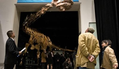 FILE - In this Jan. 14, 2016 file photo, visitors to the American Museum of Natural History examine a replica of a 122-foot-long dinosaur on display at the American Museum of Natural History in New York. An Explorer app at the American Museum of Natural History uses hundreds of Bluetooth hotspots to navigate visitors around its vast labyrinth of halls to artifacts that interest them most. (AP Photo/Mary Altaffer, File)