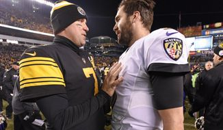 Pittsburgh Steelers quarterback Ben Roethlisberger (7) talks with Baltimore Ravens quarterback Joe Flacco (5) following an NFL football game in Pittsburgh, Sunday, Dec. 25, 2016. The Steelers won 31-27. (AP Photo/Don Wright)