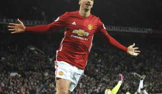 Manchester United's Zlatan Ibrahimovic,  celebrates after scoring his side second goal during the English Premier League soccer match between Manchester United and Sunderland at Old Trafford in Manchester, England, Monday, Dec. 26, 2016. (AP Photo/Rui Vieira)