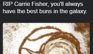 Cinnabon deleted the tweet after less than an hour, apparently because some Twitter uses thought it was in poor taste so soon after the actress's death. (@gabrielmalor)