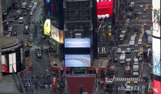 A view of Times Square in New York, Tuesday, Dec. 27, 2016. (AP Photo/Seth Wenig)