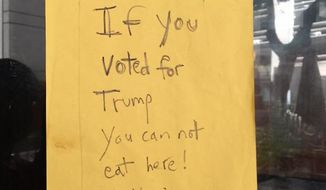 A Hawaii restaurant has reportedly posted a sign alerting supporters of President-elect Donald Trump that they aren't welcome. (Facebook/@Te-Chang Lin)