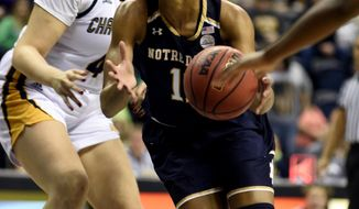 Notre Dame Forward Brianna Turner (11) drives past Arianne Whitaker (4) of Chattanooga in the first half of an NCAA college basketball game, Tuesday, Dec. 27, 2016, in Chattanooga, Tenn. (AP Photo/Billy Weeks)
