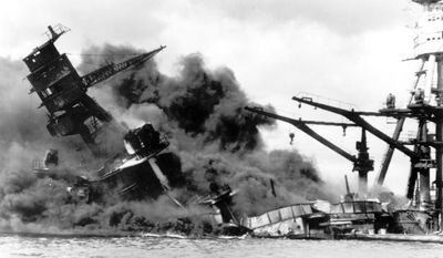 FILE - In this Dec. 7, 19041 file photo, the battleship USS Arizona belches smoke as it topples over into the sea during a Japanese surprise attack on Pearl Harbor, Hawaii, Dec. 7, 1941. Putting 75 years of resentment behind them, President Barack Obama and Japanese Prime Minister Shinzo Abe are coming together at Pearl Harbor for a historic pilgrimage to the site where a devastating surprise attack sent America marching into World War II.  (AP Photo, File)