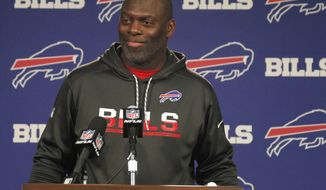 Buffalo Bills offensive coordinator Anthony Lynn addresses the media after he was named interim head coach following the firing of head coach Rex Ryan, Wednesday, Dec. 28, 2016, in Orchard Park, N.Y. (AP Photo/Jeffrey T. Barnes)