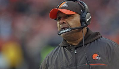 In this Saturday, Dec. 24, 2016, photo, Cleveland Browns head coach Hue Jackson during an NFL football game against the Sad Diego Chargers in Cleveland. Should he stay or should he go? Jackson appears safe despite difficult first season with Cleveland. The Browns went 0-14 before beating San Diego last week, ending 17-game losing streak stretching to Dec. 13, 2015. Owners Dee and Jimmy Haslam have preached continuity, and Jackson was saddled with young, inexperienced roster after team's front office decided not to sign any of club's free agents to build for future. (AP Photo/Aaron Josefczyk)