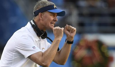 In this Sunday, Dec. 18, 2016, photo, San Diego Chargers head coach Mike McCoy reacts on the sidelines during the first half of an NFL football game against the Oakland Raiders in San Diego. Should he stay or should he go? McCoy's under contract for 2017, and chairman Dean Spanos doesn't like eating contracts. (AP Photo/Denis Poroy)