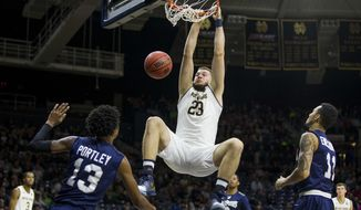 Notre Dame's Martinas Geben (23) dunks during the first half of an NCAA college basketball game against Saint Peter's Wednesday, Dec. 28, 2016, in South Bend, Ind. (AP Photo/Robert Franklin)