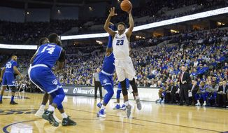 Creighton center Justin Patton (23) makes a layup against Seton Hall during the first half of an NCAA college basketball game in Omaha, Neb., Wednesday, Dec. 28, 2016. (AP Photo/John Peterson)