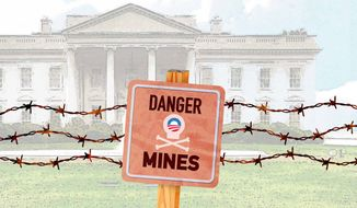 White House Land Mines Illustration by Greg Groesch/The Washington Times