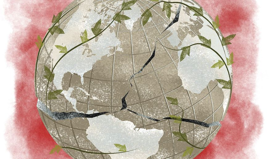 Illustration on the changes in world direction from 2016 by Linas Garsys/The Washington Times
