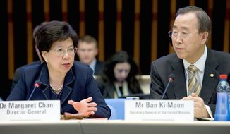 Dr. Margaret Chan, director-general of the World Health Organization, and U.N. Secretary-General Ban Ki-moon met with vaccine manufacturers during the 62nd World Health Assembly in 2009, where they discussed medical responses to the H1N1 influenza pandemic. Image courtesy of the World Health Organization.