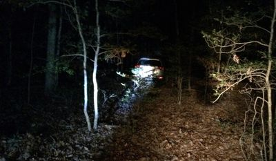 This photo provided by the Virginia State Police shows a vehicle Wednesday, Dec. 28, 2016, in Dinwiddie County, Va., that belongs to a New Jersey woman, who had disappeared during a holiday road trip with her 5-year-old great-granddaughter. Barbara and La'Myra Briley, 5, were found alive near their vehicle on private property south of Richmond on Wednesday ending the multistate search. (Virginia State Police via AP)