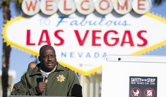 Las Vegas Metropolitan Police Department Assistant Sheriff Tim Kelly speaks during a press conference about the security plans for the 2017 New Year's celebrations on the Las Vegas Strip and downtown's Fremont Street Experience at the Welcome to Fabulous Las Vegas sign on Thursday, Dec. 29, 2016, in Las Vegas. (Erik Verduzco  /Las Vegas Review-Journal via AP)