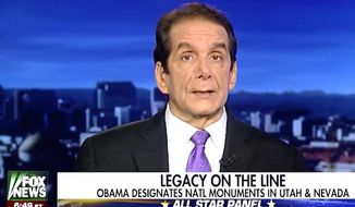 "Fox News contributor Charles Krauthammer told panelists on Dec. 29, 2016, that new sanctions issued against Russia stem from President Obama seeing himself as a ""god hovering over the country."" (Fox News screenshot)"