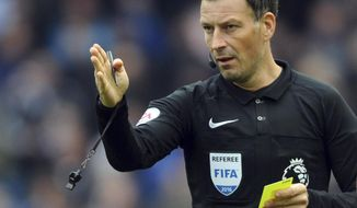 FILE - This is a Sunday, Oct. 23, 2016   file photo of  English referee Mark Clattenburg during the English Premier League soccer match between Manchester City and Southampton at the Etihad Stadium in Manchester, England. In the hours and days after blowing the final whistle, Mark Clattenburg endures hidden anguish as the decisions made during 90 minutes of refereeing whirl through his mind.(AP Photo/Rui Vieira, File)
