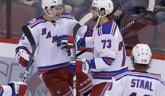 New York Rangers left wing Matt Puempel (12) celebrates with Brandon Pirri (73) after scoring his third goal of the night against the Arizona Coyotes, during the third period during an NHL hockey game, Thursday, Dec. 29, 2016, in Glendale, Ariz. (AP Photo/Rick Scuteri)