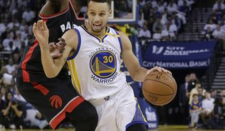 Golden State Warriors guard Stephen Curry (30) dribbles past Toronto Raptors forward Patrick Patterson during the second half of an NBA basketball game in Oakland, Calif., Wednesday, Dec. 28, 2016. (AP Photo/Jeff Chiu)