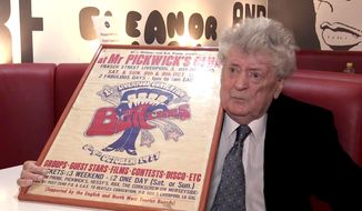 FILE - This is a Oct. 26, 2016 file video grab image of Allan Williams.  Williams, helped the Beatles get early gigs, has died. He was 86. Graham Stanley, manager of the Jacaranda Club that Williams used to operate, said Saturday that Williams died Friday Dec. 30, 2016. (PA/File via AP)