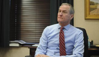 In this Wednesday, Dec. 28, 2016 photo, South Dakota Gov. Dennis Daugaard describes his priorities for the rest of his term at the state Capitol in Pierre, S.D. Daugaard's aiming to tackle issues ranging from rising methamphetamine use to the solvency of the state retirement system. (AP Photo/James Nord)