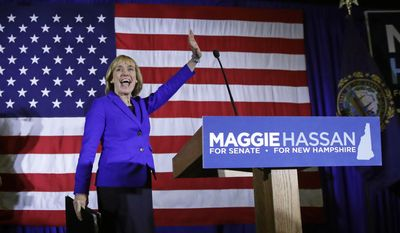 FILE - In this Nov. 9, 2016 file photo, New Hampshire Democratic Senate candidate, Gov. Maggie Hassan waves to supporters during an election night rally in Manchester, N.H. Hassan officially becomes a U.S. senator on Wednesday, Jan. 4, 2017, ending four years of leading New Hampshire from the corner office. Her two terms in office were marked by accomplishments, including providing subsidized health care to 50,000 low-income people, and failures, such as her unsuccessful drive to legalize a casino in New Hampshire. Perhaps the greatest challenge that faced Hassan was the opioid and heroin crisis, which the state has struggled to contain. (AP Photo/Charles Krupa, File)