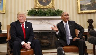 In this Thursday, Nov. 10, 2016, file photo, President Barack Obama meets with President-elect Donald Trump in the Oval Office of the White House in Washington. (AP Photo/Pablo Martinez Monsivais, File)