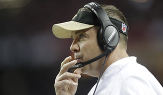 New Orleans Saints head coach Sean Payton watches play against the Atlanta Falcons during the first half of an NFL football game, Sunday, Jan. 1, 2017, in Atlanta. (AP Photo/David Goldman)