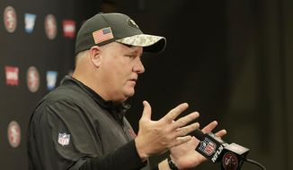 San Francisco 49ers coach Chip Kelly speaks at a news conference after the team's NFL football game against the Seattle Seahawks in Santa Clara, Calif., Sunday, Jan. 1, 2017. (AP Photo/Marcio Jose Sanchez)