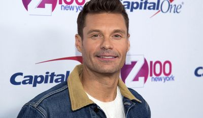 """FILE - In this Dec. 9, 2016 file photo, Ryan Seacrest attends Z100's iHeartRadio Jingle Ball at Madison Square Garden in New York. Seacrest says he and about five other people got stuck in a Times Square elevator before an appearance on ABC's """"Good Morning America"""" and were rescued by firefighters. The host of """"Dick Clark's New Year's Rockin' Eve with Ryan Seacrest"""" was heading up to the crystal ball on Friday morning, Dec. 30, 2016, when the elevator got stuck. (Photo by Charles Sykes/Invision/AP, File)"""