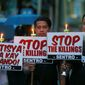 Demonstrators keep up protests of the extrajudicial killings in Philippines President Rodrigo Duterte's war on drugs campaign, which has led to some 3,600 deaths, often in the streets. (Associated Press)