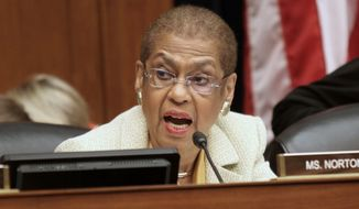 As the District's nonvoting member of Congress, Del. Eleanor Holmes Norton can propose legislation but not vote on it, which she is pressing to change. (Associated Press)
